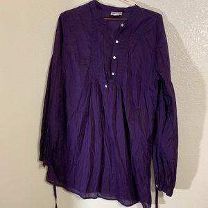 Converse   Deep Purple Cotton Peasant Top Size L